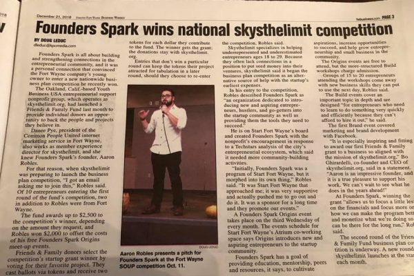 Founders Spark Newspaper Clipping