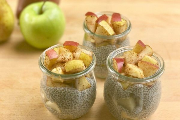 Apples and chia seeds in tiny jars